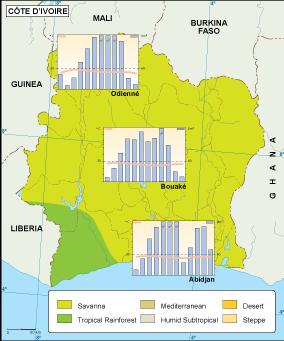Cote Ivoire climate map