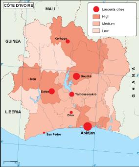 Ivory Coast population map EPS Illustrator Map A vector eps maps