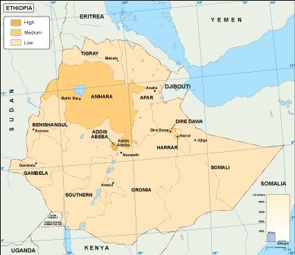 Ethiopia economic map