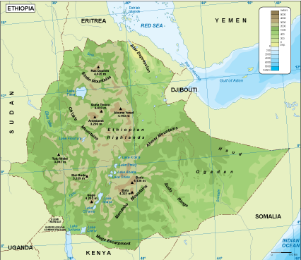 Ethiopia physical map EPS Illustrator Map Our cartographers have