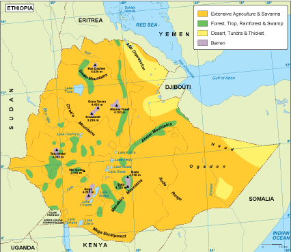 Ethiopia vegetation map