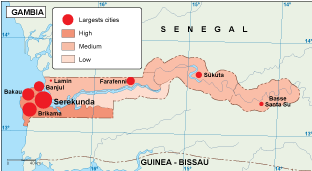Gambia population map