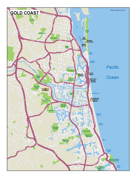 Gold Coast EPS map EPS Illustrator Map Our cartographers have