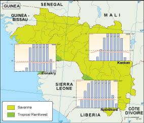 Guinea climate map