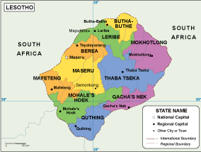 Lesotho EPS Map EPS Illustrator Map Our Cartographers Have Made - Lesotho maps with countries