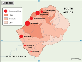 Lesotho Maps Vector Wall Maps Made In Barcelona From Netmaps - Lesotho maps with countries