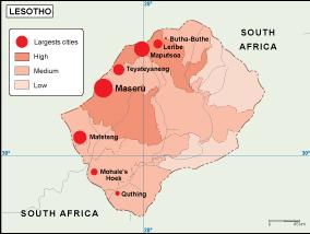 Lesotho Population Map
