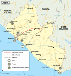 Liberia transportation map