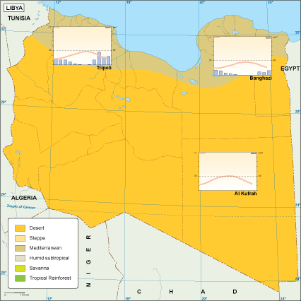 Libya climate map. EPS Illustrator Map   Vector World Maps