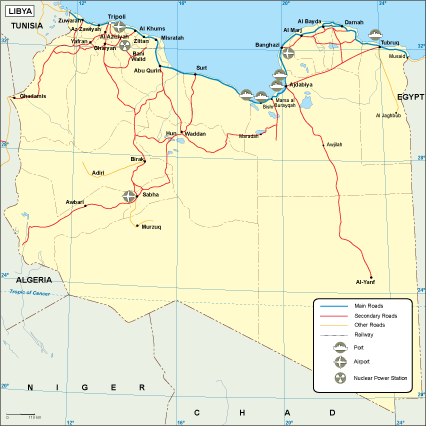 Libya transportation map
