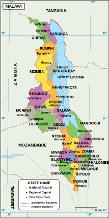 Malawi Maps Vector Wall Maps Made In Barcelona From Netmaps - Malawi map