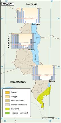 Malawi climate map