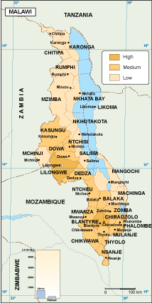 Malawi economic map