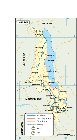 Malawi transportation map