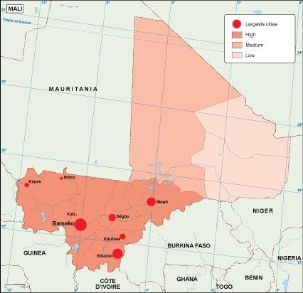 Mali population map