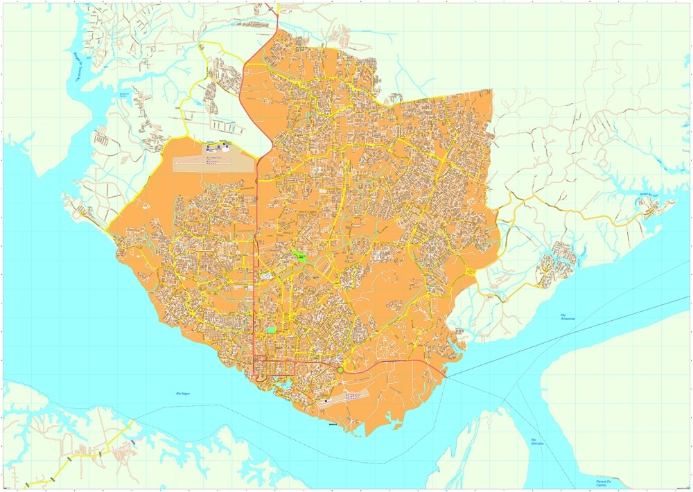 Manaus Vector Map EPS Illustrator Map Our Cartographers Have - Manaus map