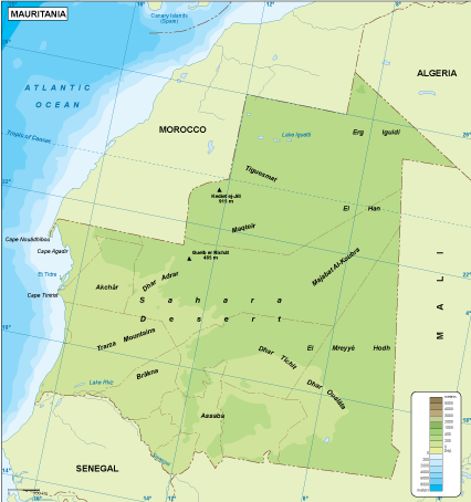 Mauritania physical map