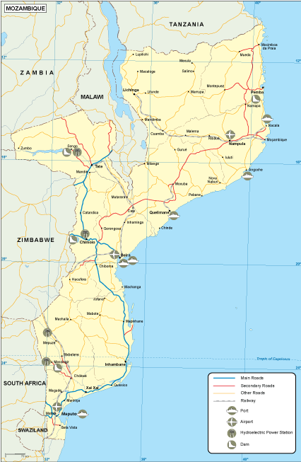 Mozambique political map Vector Wall Maps from Netmaps Made in