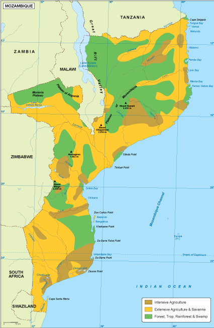 Map Of Africa Vegetation.Mozambique Vegetation Map