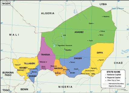 Niger EPS map. EPS Illustrator Map