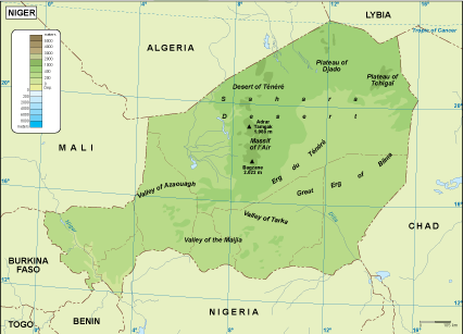 Niger physical map EPS Illustrator Map Our cartographers have