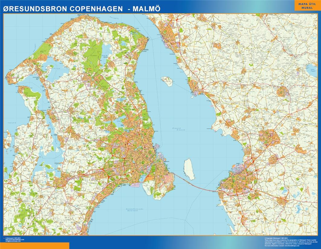 Oresundsbron Kort Eps Illustrator Map Vector World Maps