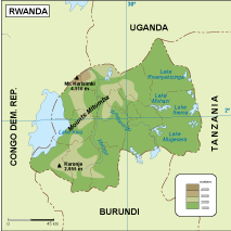 Rwanda physical map