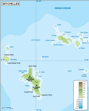 Seychelles physical map