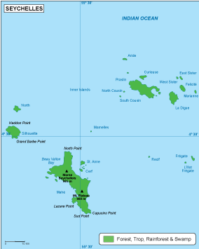 Seychelles vegetation map