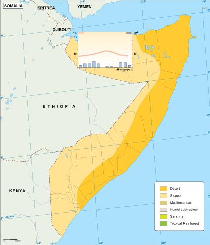 Somalia climate map. EPS Illustrator Map | Vector World Maps