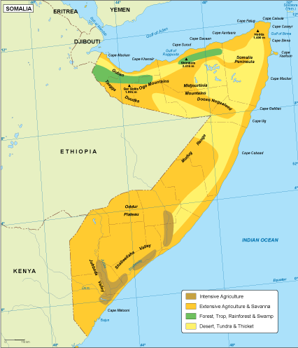 Somalia vegetation map