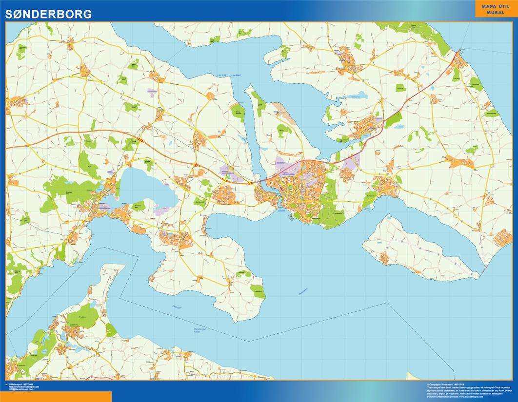 Sonderborg Kort Eps Illustrator Map Vector World Maps