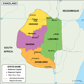 Swaziland Maps Vector Wall Maps Made In Barcelona From Netmaps - Swaziland map