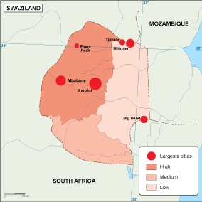 Swaziland population map