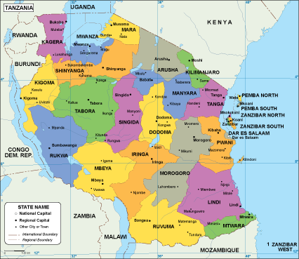 Tanzania EPS map EPS Illustrator Map Our cartographers have made