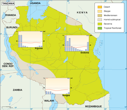 Tanzania Climate Map EPS Illustrator Map Our Cartographers Have - Tanzania map download