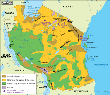 Tanzania vegetation map
