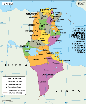 Africa Country Maps Vector Wall Maps Made In Barcelona From - Tunisia country political map