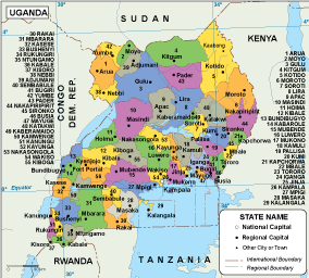 Uganda EPS map EPS Illustrator Map Our cartographers have made