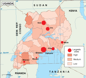 Uganda population map