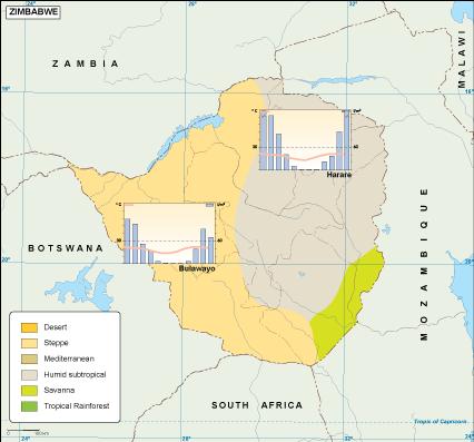 Zimbabwe climate map