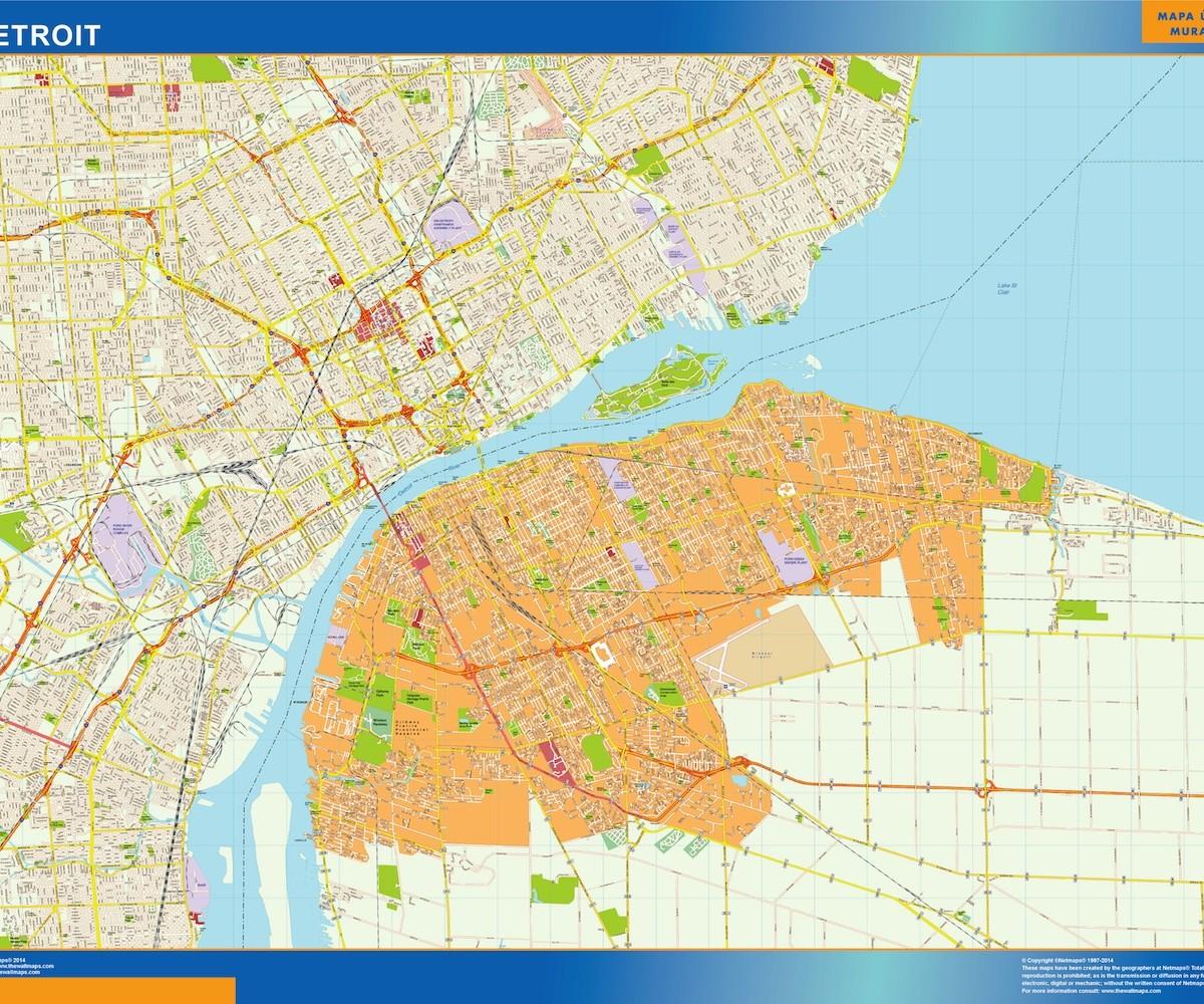 Detroit Vector Map Eps Illustrator Vector City Maps USA America - Detroit usa map