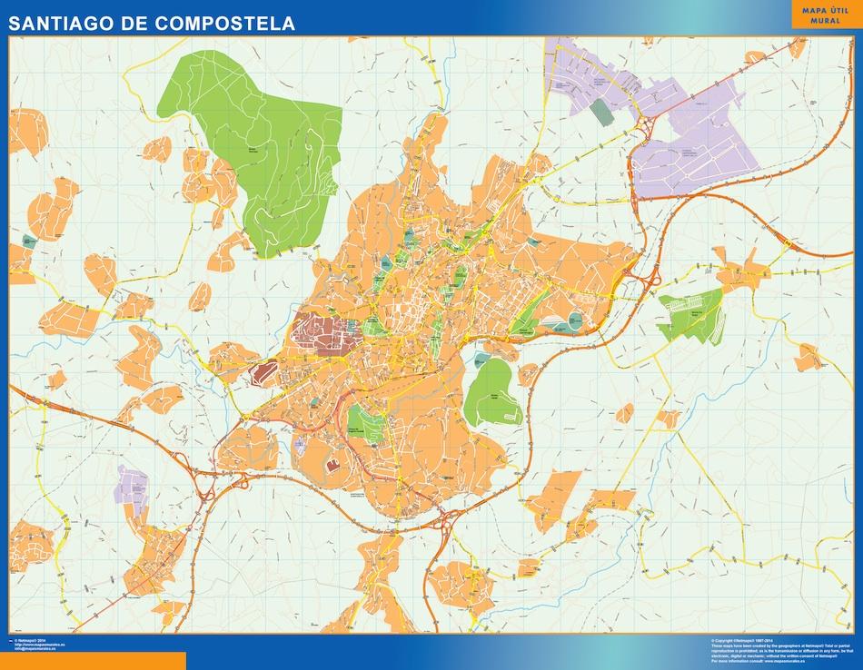 Mapa Vectorial Santiago De Compostel Eps Illustrator Map Vector