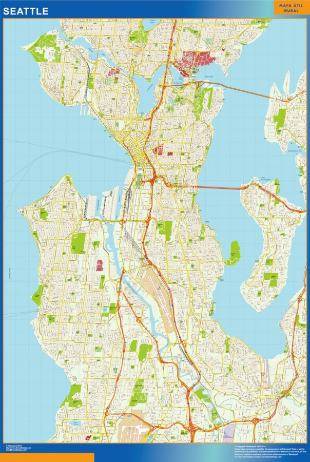 Seattle Vector Map Eps Illustrator Vector City Maps Usa America