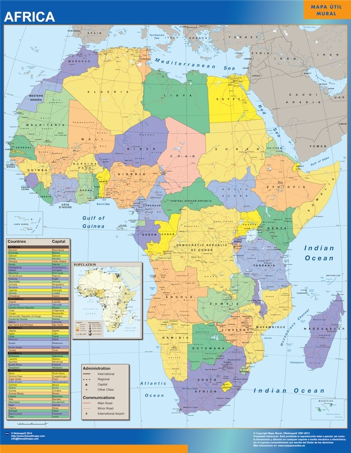 Africa political wall map our cartographers have made africa africa political wall map publicscrutiny Gallery