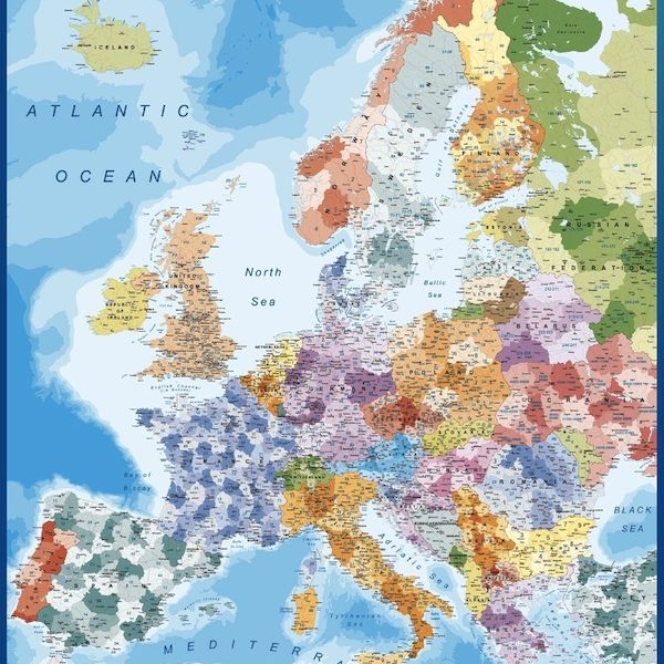 europe postal codes wall map