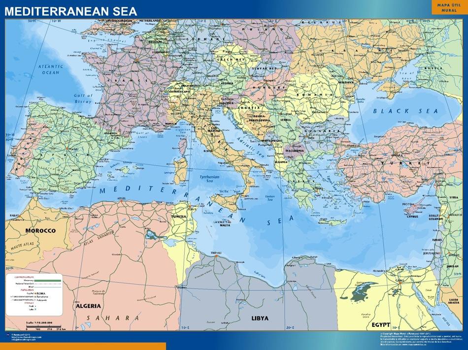 Mediterranean Sea Countries Wall Map Vector World Maps