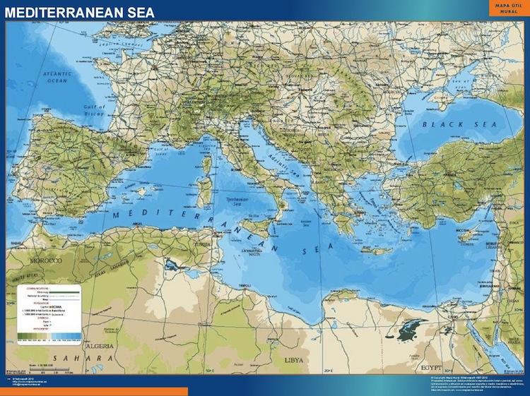 World Map Mediterranean.Mediterranean Wall Map Vector World Maps