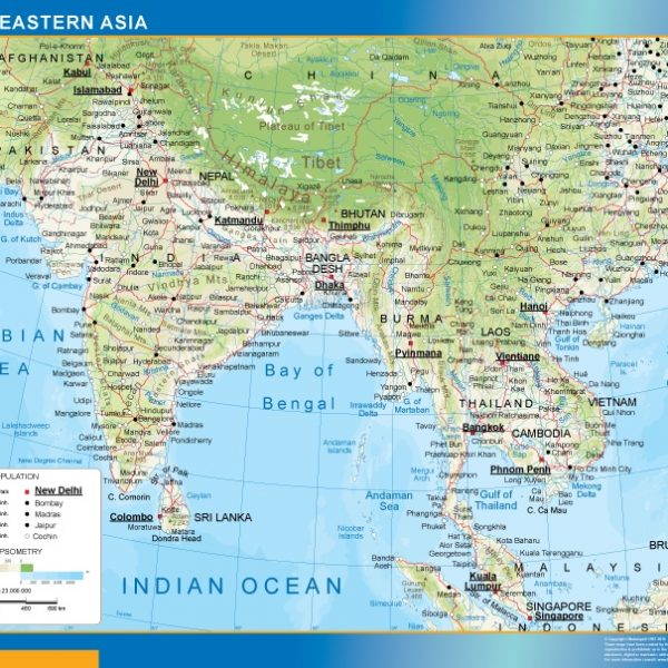 south eastern asia wall map