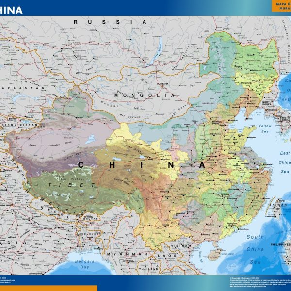 China Wall Map Vector Wall Maps Made In Barcelona From Netmaps - Magnetic us wall map